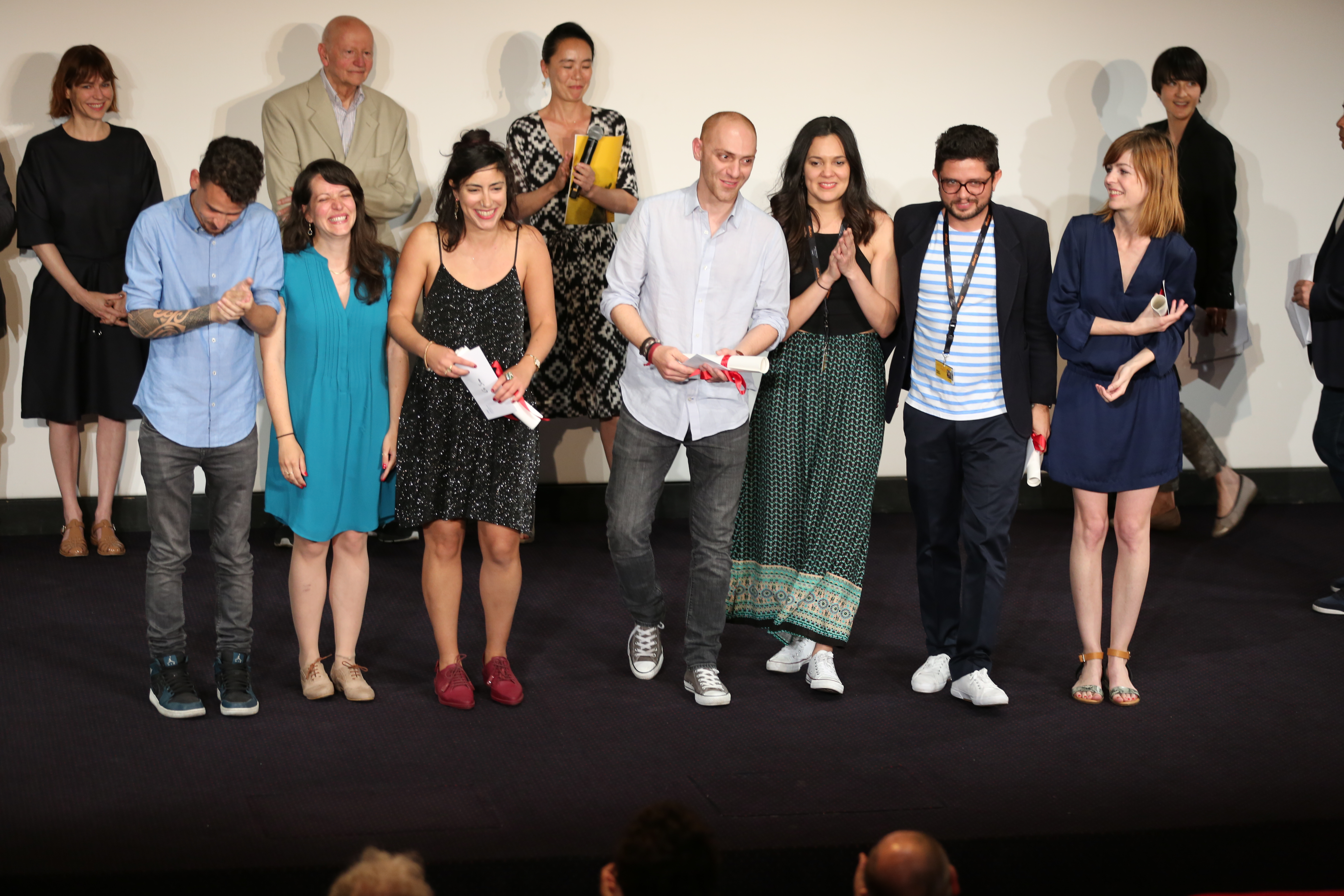 Gilles Jacob on stage with the winners of the 2016 Cinéfondation Awards: Or Sinai, Hamid Ahmadi, Michael Labarca and Nadja Andrasev
