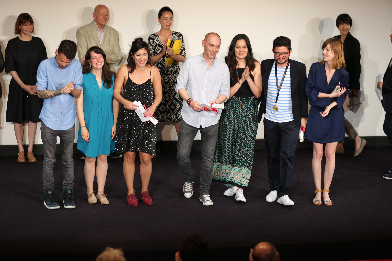 Gilles Jacob sur scène avec les lauréats de la Sélection 2016: Or Sinai, Hamid Ahmadi, Michael Labarca et Nadja Andrasev